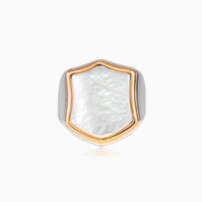 Perlmutt-Wappenring unisex Ringe High polished
