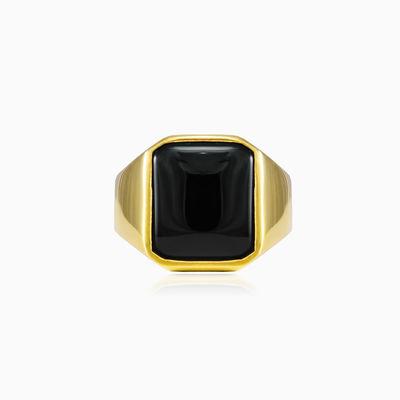 Ring aus vergoldetem Onyx unisex Ringe High polished