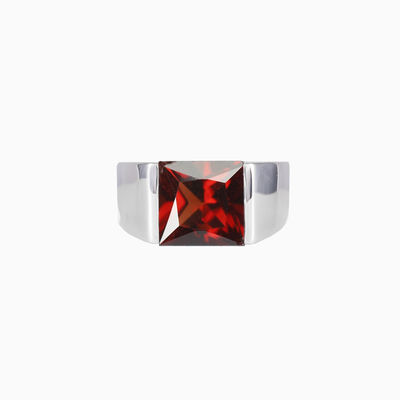 Square garnet ring unisex rings High polished