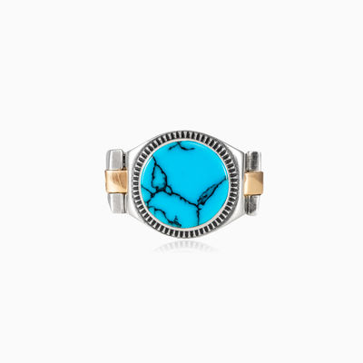 Turquoise oyster strap ring man rings