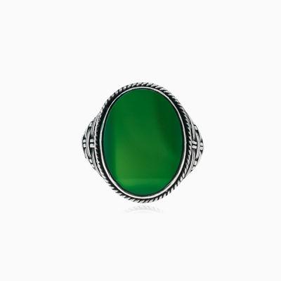 Threaded oval jade ring man Rings Detallado