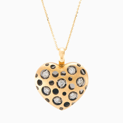 Matte gold heart  woman pendants MC Diamonds