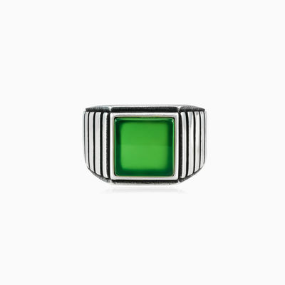 Symmetric square jade ring homme bagues