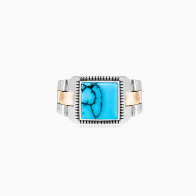 Square turquoise oyster strap ring man Rings oyster strap