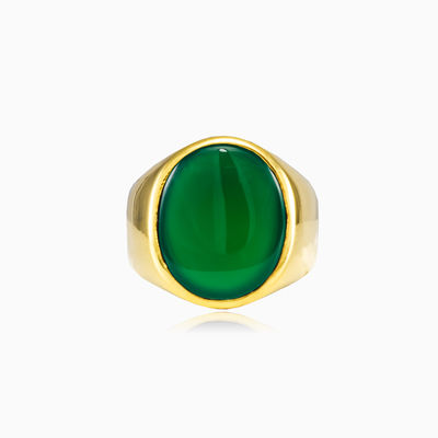 Oval gold plated jade ring unisex Rings High polished