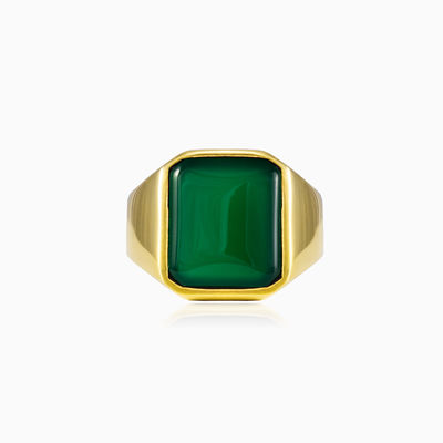 Gold plated jade ring unisex Rings High polished
