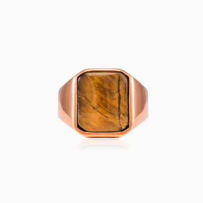 Rose gold plated tiger eye ring unisex Rings High polished