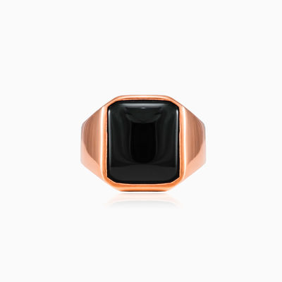 Rose gold plated onyx ring unisex Rings High polished