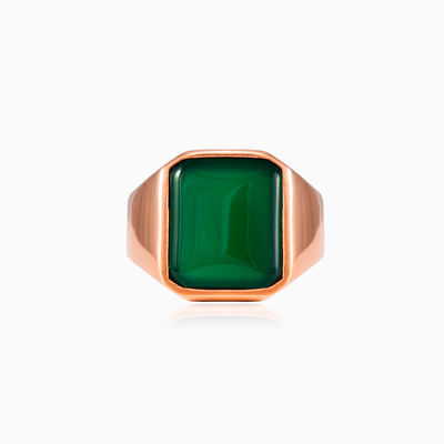 Rose gold plated jade ring unisex Rings High polished
