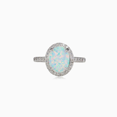Wide oval white opal ring woman rings Halo
