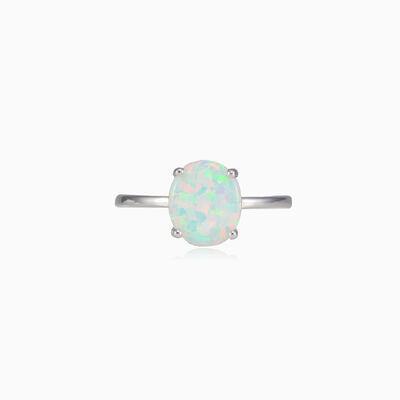 Flat white opal ring woman Rings Colorino