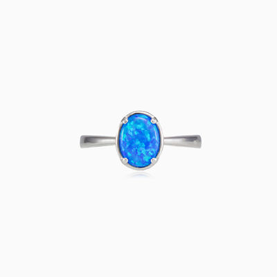 Tiny prong oval blue opal ring woman Rings Colorino