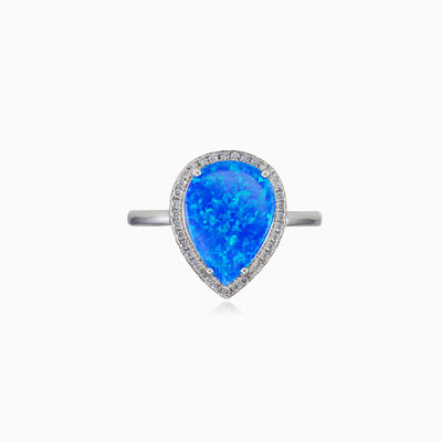 Wide blue opal pear ring woman rings Halo