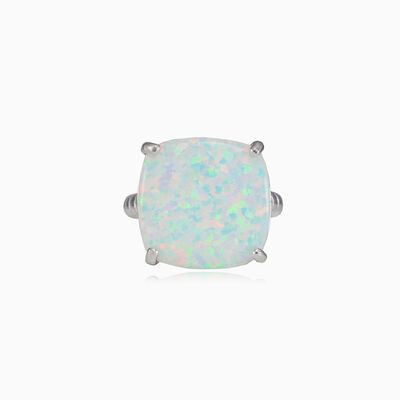 Twisted square white opal ring woman Rings Colorino
