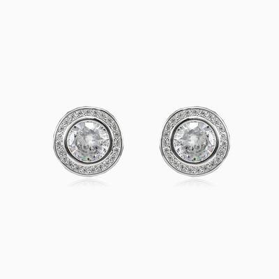 Bezel round stud earrings unisex Серьги Halo