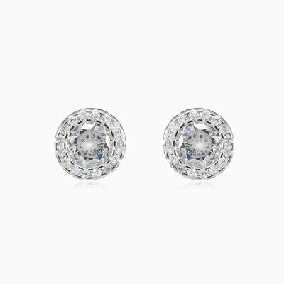 Round halo crystal studs unisex Earrings Halo