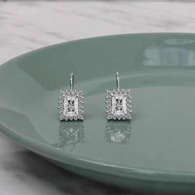 Rectangle crystal earrings woman earrings