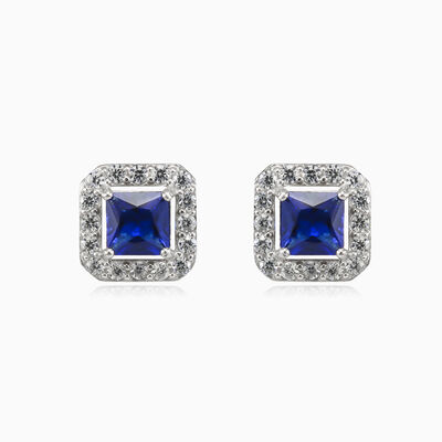 Square blue quartz studs woman Earrings Halo