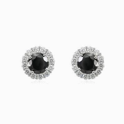 Royal black onyx studs woman Earrings Halo