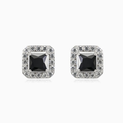Square black onyx studs woman earrings