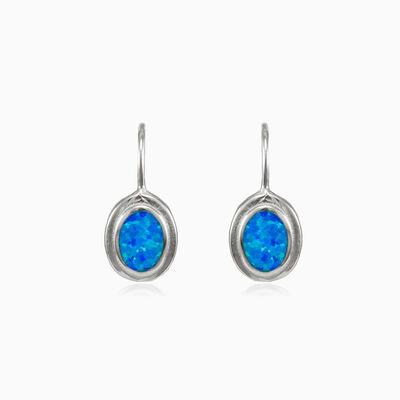 Plain blue opal oval lever earrings woman Earrings Colorino