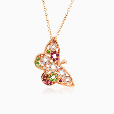 Colorful butterfly woman Necklaces Animale