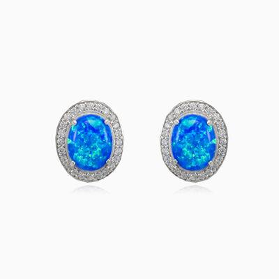 Königlich weiche blaue Opal-Ohrringe Frauen Ohrringe Halo