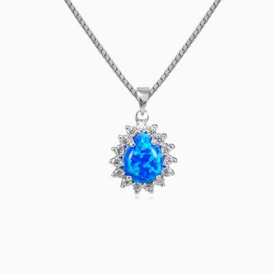 Pear blue opal pendant woman Pendants Halo