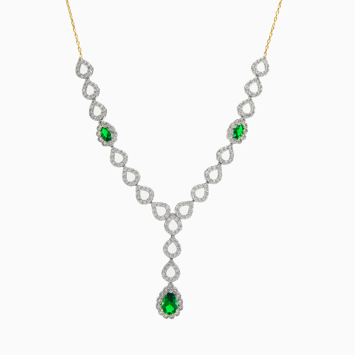 a756ba85308 Unique necklace in 14k yellow and white gold with crystals and green ...