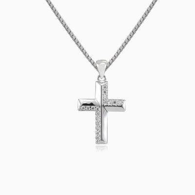 Croix miniscule de cristal en zigzag unisex Pendentifs Santa Croce