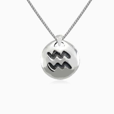 Aquarius silver pendant unisex Pendants Zodiac signs