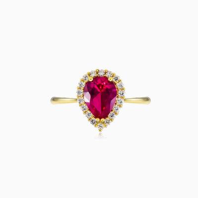 Pear rubellite yellow gold ring woman Rings Royal