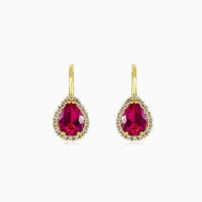 Pear rubellite yellow gold earrings woman Earrings Royal