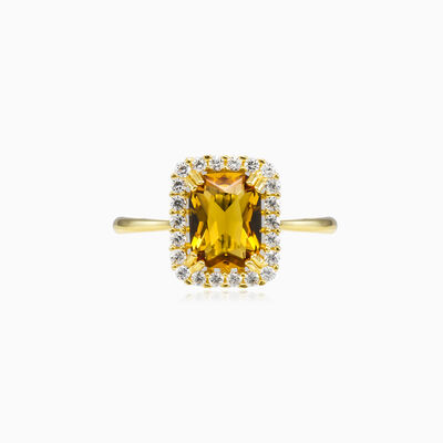 Halo Radiant citrine ring woman Engagement rings Royal
