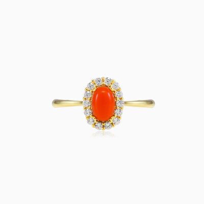 Oval coral gold ring woman Engagement rings Royal