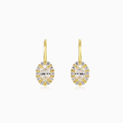 Oval crystal gold earrings woman Earrings Royal