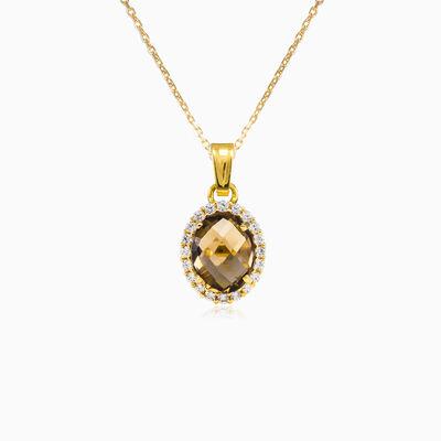 Oval smoky topaz gold pendant woman Pendants Royal