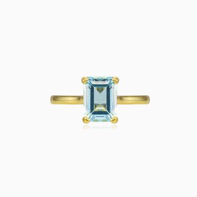 Blue topaz gold ring woman engagement rings Tinge