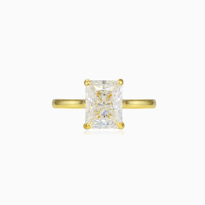 Radiant crystal gold ring woman Engagement rings Lustrous