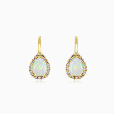 Pear white opal gold earrings mujer pendientes