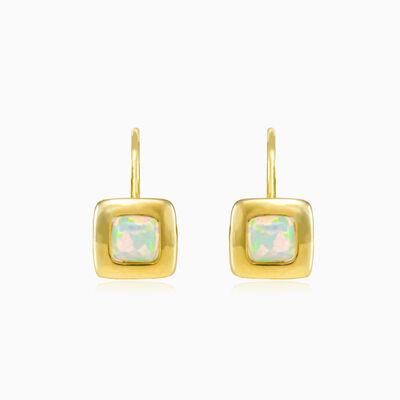 Square white opal gold earrings woman Earrings Tinge