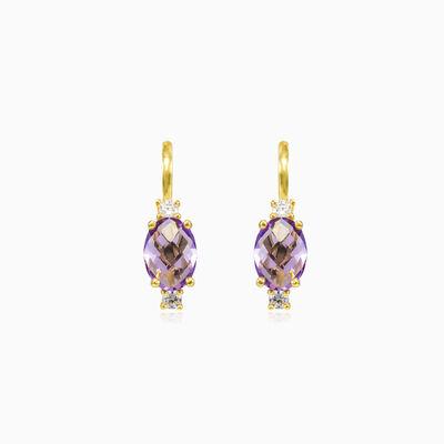 Oval briolette amethyst gold earrings woman Earrings Tinge