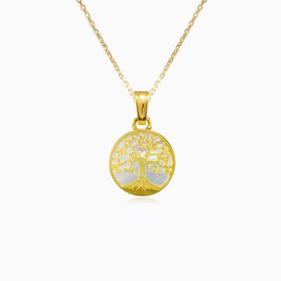 Tree of life and nacre gold pendant unisex Pendants Tree of life
