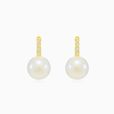 Accent gold pearl earrings woman Earrings Lustrous