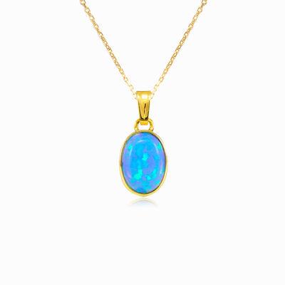 Pendentif simple en or opale bleue  femme Pendentifs Tinge