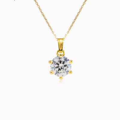 Six prong gold pendant woman Pendants