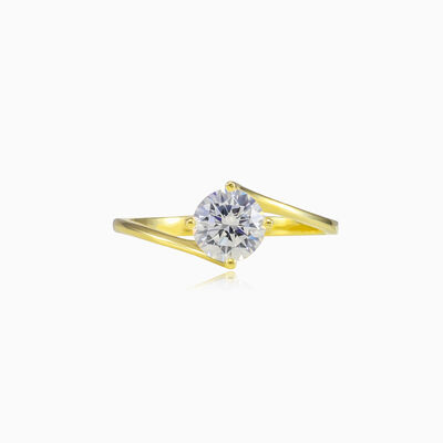 Twisted solitaire gold ring woman Engagement rings Lustrous