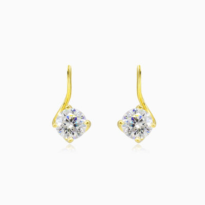 Twisted solitaire gold drop earrings woman Earrings Lustrous