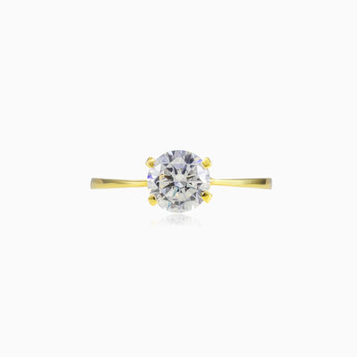 Four prong gold ring woman Engagement rings Lustrous