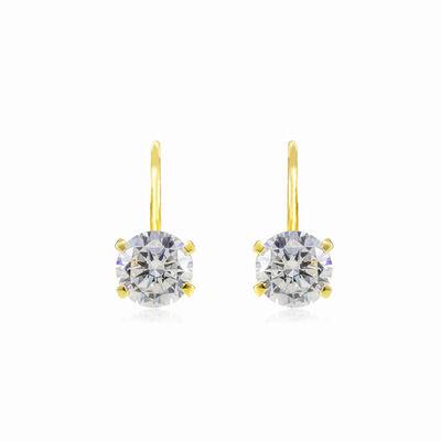 Four prong gold drop earrings woman Earrings Lustrous